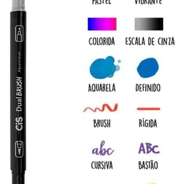 Estojo brush pen 12 cores duas pontas aquarelável cis +