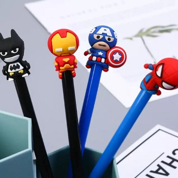 Kit caneta gel importada herois marvel