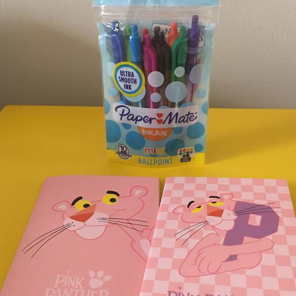 Kit canetas e cadernos pantera cor de rosa novos