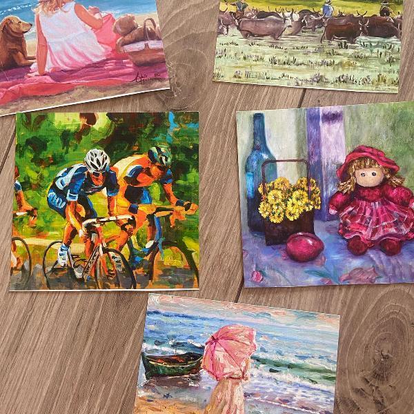 Lote pinturas diversas quadrinho ou cartão