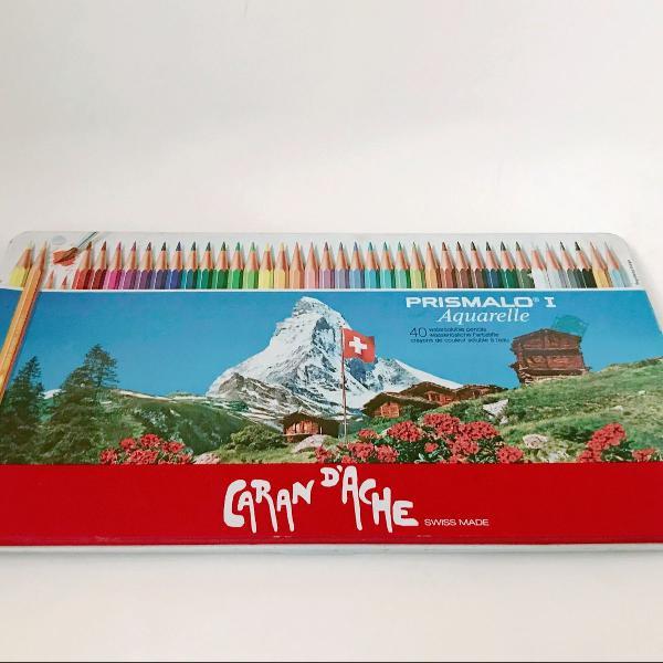 Lápis aquarela caran dache prismalo 40 cores