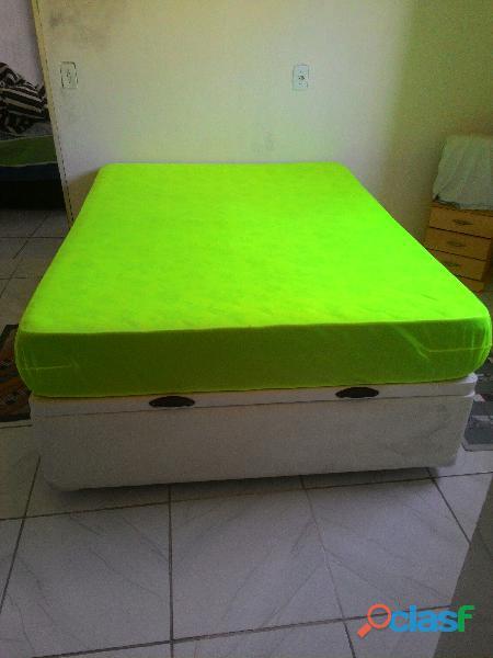 cama box de casal com baú e colchão