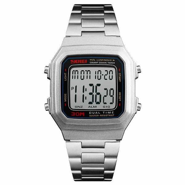 Relógio digital unissex prata