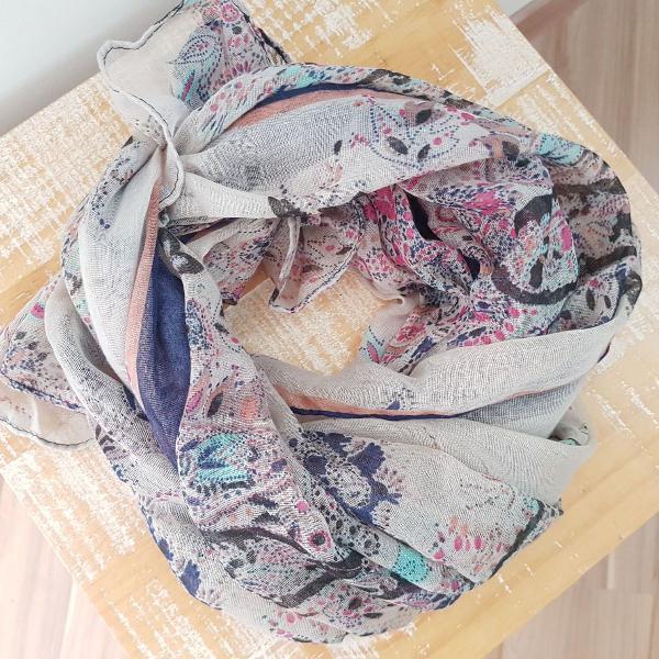 C-003 cachecol echarpe floral azul 160 x 75 cm