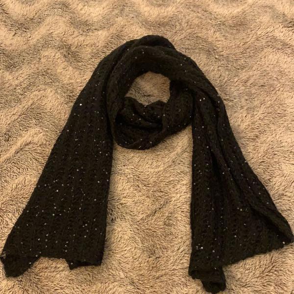 Cachecol lã preto brilhante