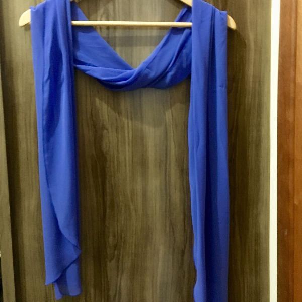 Echarpe lenço tecido fino e leve azul violeta