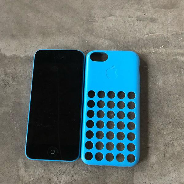 Iphone 5c azul + capinha - sucata para retirar peças