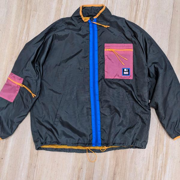 Jaqueta corta-vento linda retrô anos 90 tamanho g