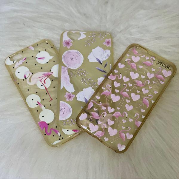 Kit capinhas iphone 6/6s plus flamingo e floral