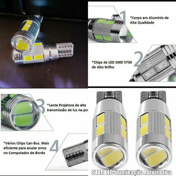 Lampada led t10 cambus + projetor