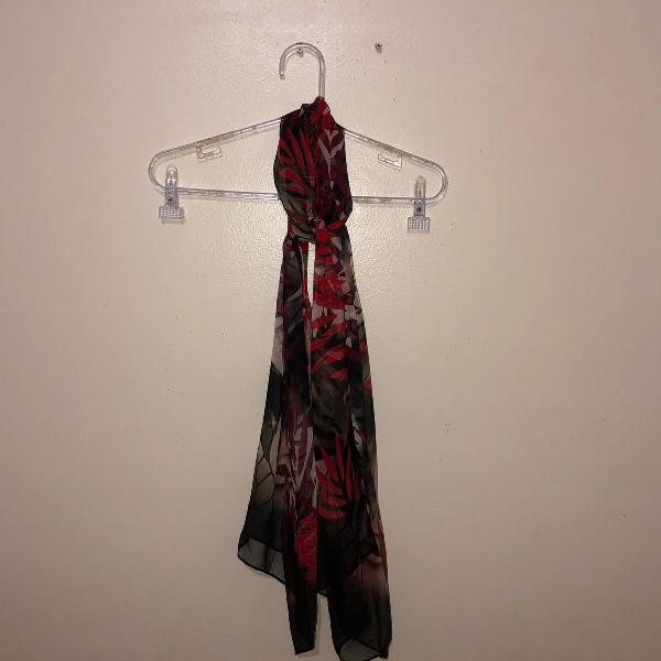 Lenço longo seda pura estampado vermelho e preto