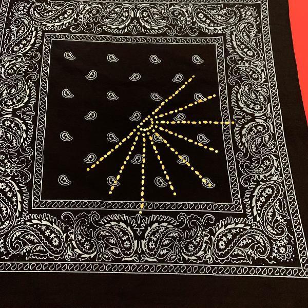 Lote com 2 bandanas femininas - lenço - preto com detalhe