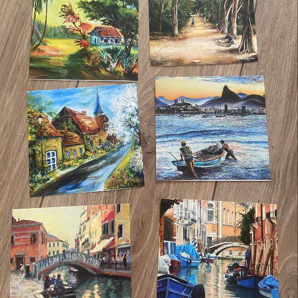 Lote pinturas paisagem quadrinho ou cartão