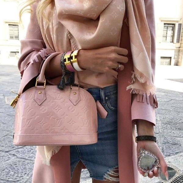 Louis vuitton pashmina rosa seda nova
