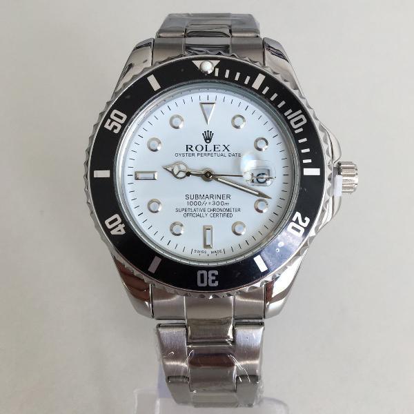 Relógio rolex prata com branco