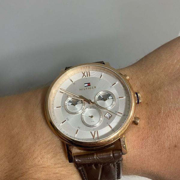 Relógio tommy hilfiger rose pulseira couro