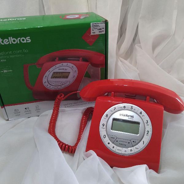 Telefone com fio vermelho modelo retrô