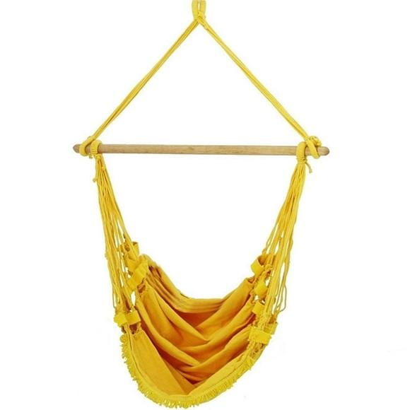 Cadeira rede balanço suspensa s/ almofada amarela