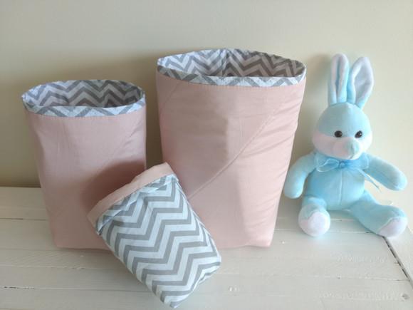 Conjunto de cestos organizadores em tecido