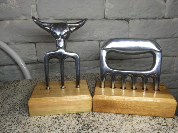 Kit garfo e garra de urso em alumínio para churrasco