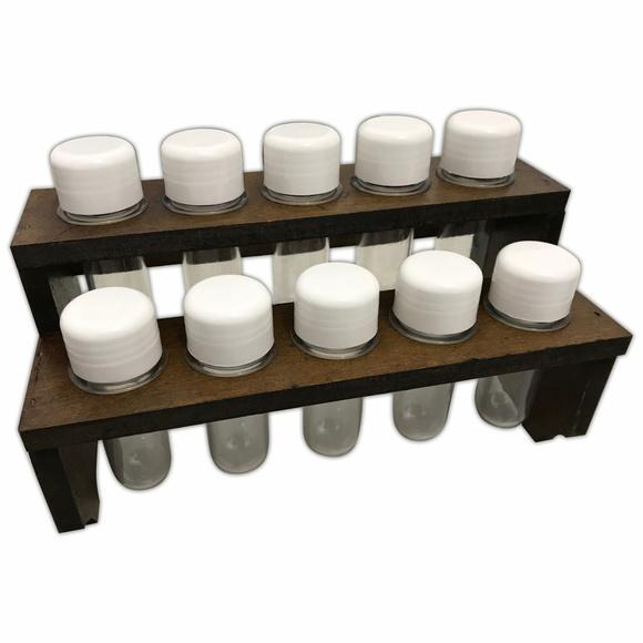 Porta condimentos suporte madeira para 10 potes de tempero