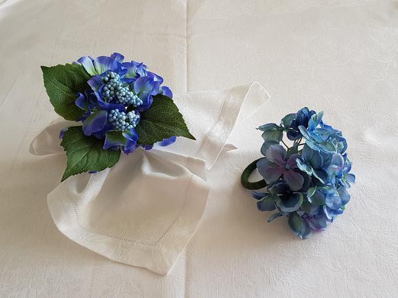 Porta-guardanapo hortênsia azul