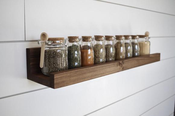 Prateleira perfil/ porta condimentos de madeira