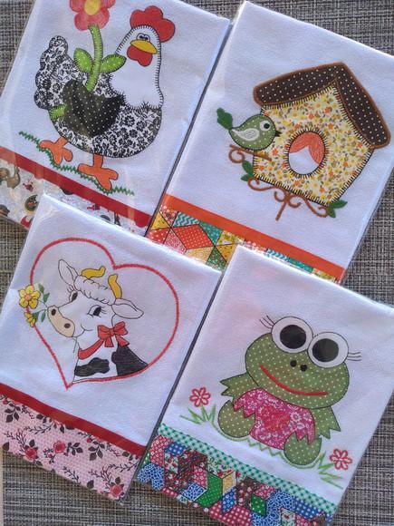 Kit 10 panos de prato patchwork com viés.