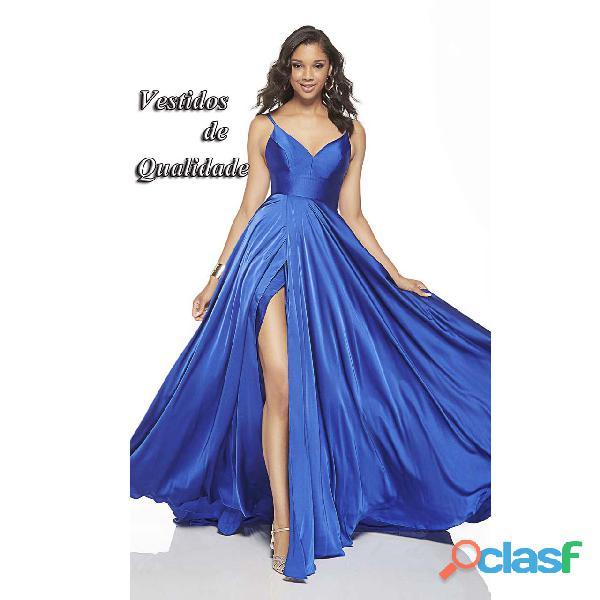 Vestido de formatura azul royal, com fenda frontal