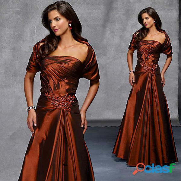 Vestido mãe de noivo em tafetá na cor ferrugem
