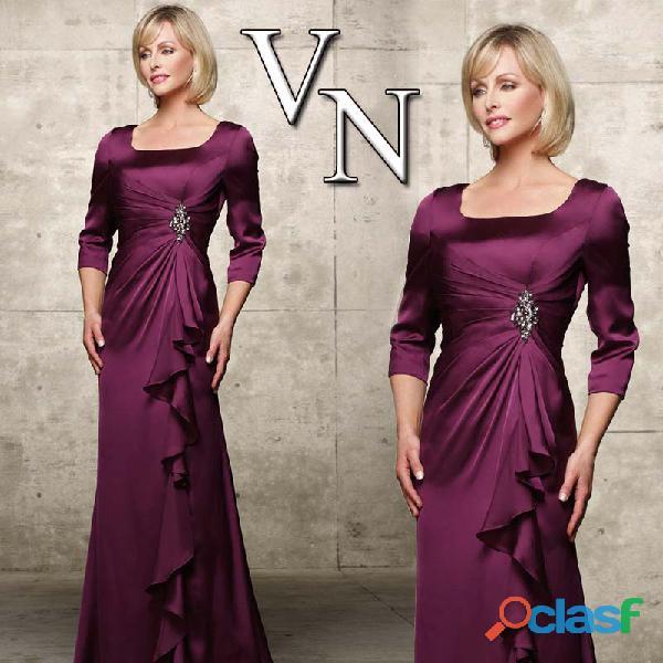 Vestido roxo, manga 3/4 em cetim, mãe de noiva