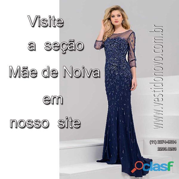 Vestido azul marinho com renda e manga longa, mãe de noiva