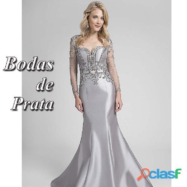 Vestido Bodas de Prata em zibeline importado