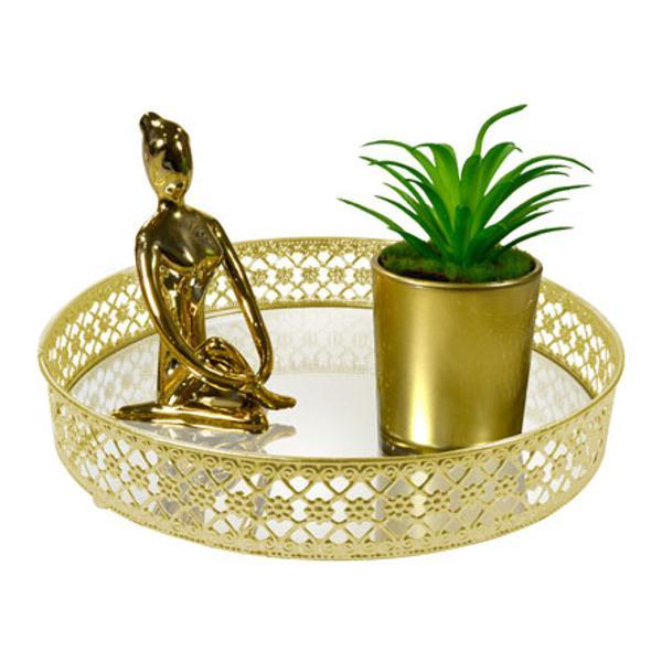 Bandeja metal dourado flower espelhada