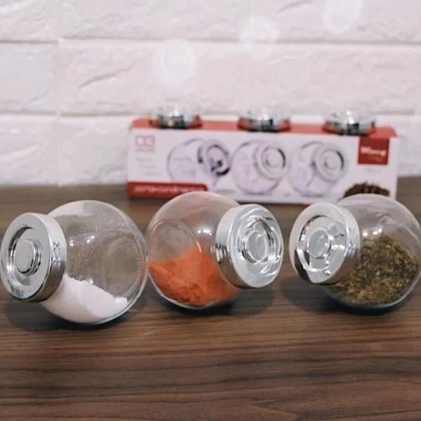Conjunto pote de vidro porta tempero kit com 3 peças