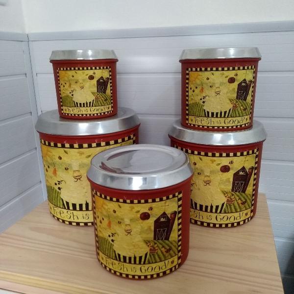 Conjunto de 5 latas porta mantimentos
