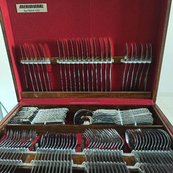 Faqueiro 130 peças meridional aço nobre inox novo