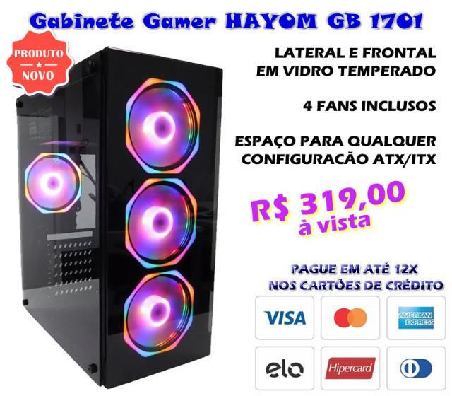 Gabinete gamer com 4 fans e lateral em vidro hayom gb1701
