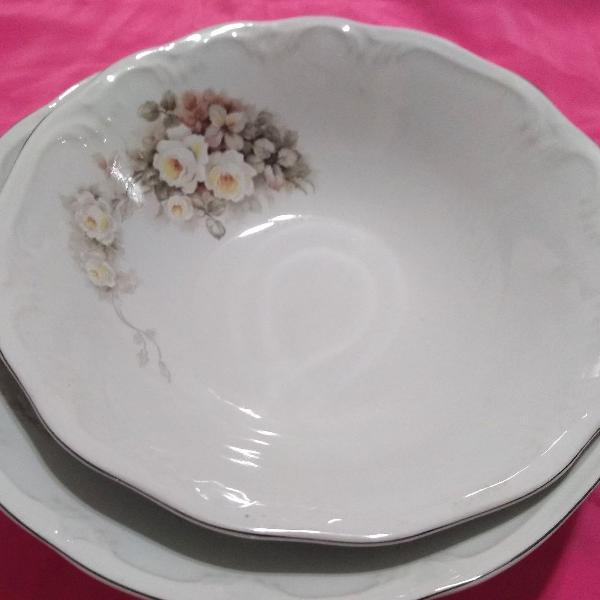 Jogo saladeiras porcelana schmidt modelo vitória