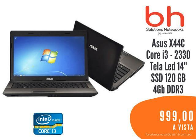 Notebook asus core i3 4gb 120gb sdd tela led 14/