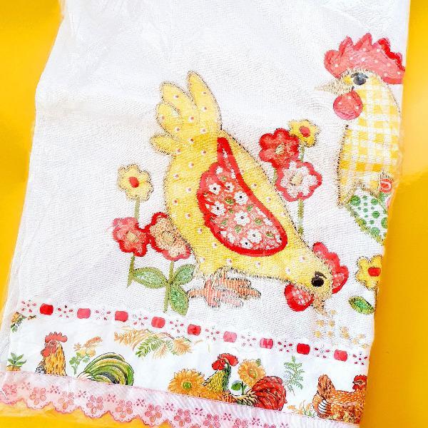 Pano de prato decorativo para cozinha, em patchwork, 100%