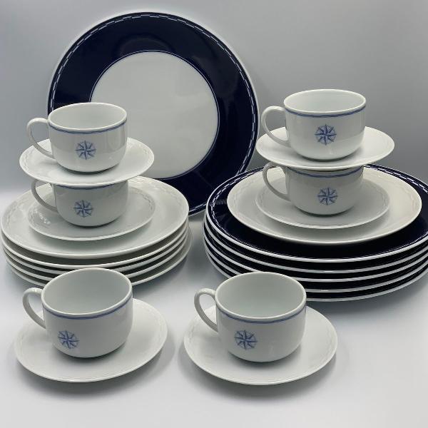 Jogo de jantar porcelana varig com 24 peças