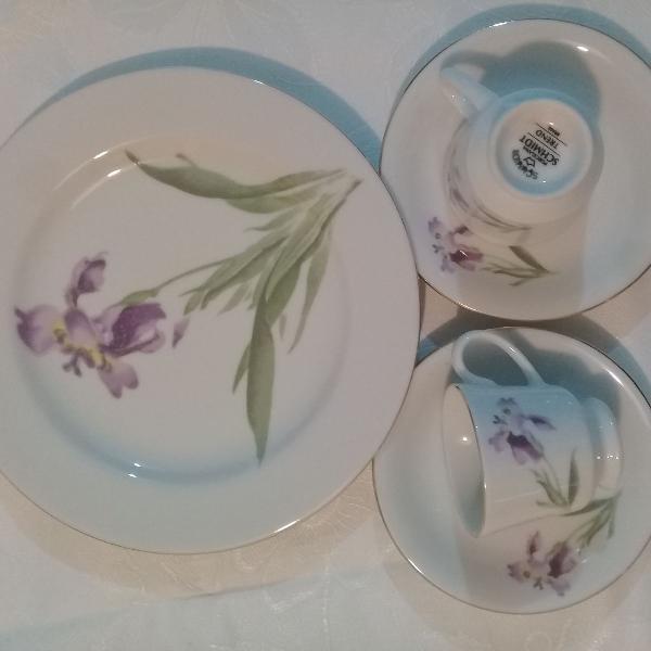 Porcelana schmidt - 6 pratos de sobremesa + jogos de café