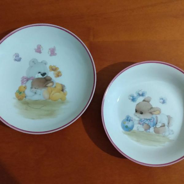 Pratos de porcelana para crianças