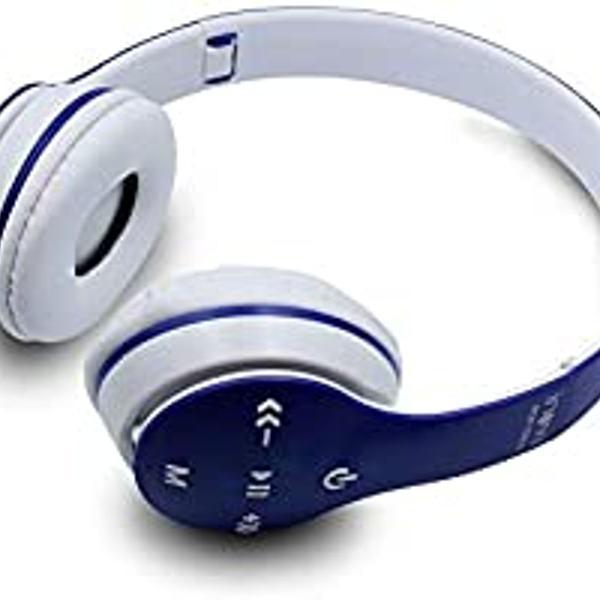 Fone de ouvido headphone, bluetooth, azul com branco. inova.