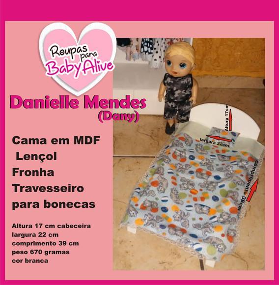1 cama em mdf para bonecas