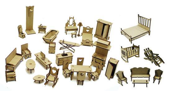 34 mini móveis desmontados para casinha de bonecas polly