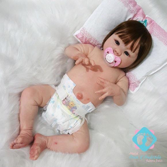 Bebê boneca reborn izabely inteira em vinil siliconado