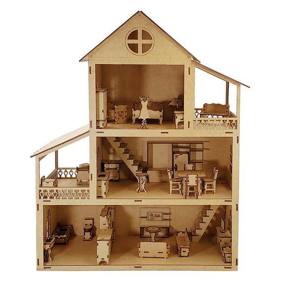 Casa de bonecas 60cm + 32 móveis mdf cru r11