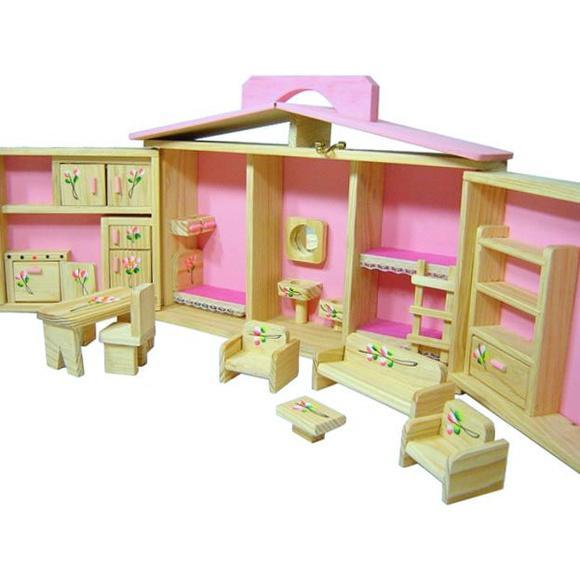 Casinha de boneca com móveis - estilo maleta - madeira - 5